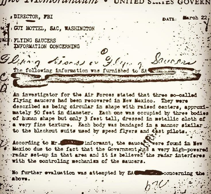 The most viewed document on the FBI archive… for a reason. What do you think, did aliens crash in Roswell?  …. This FBI document *supports* ETs Exist, ETs have visited, and that the Government has shot them down and recovered their bodies 🤐 …. Slow but steady disclosure movements have been pursuing the hidden truths behind these incidents ever