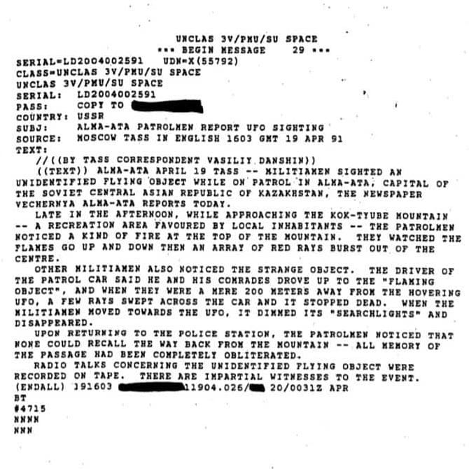 Proof that the govt watches ufos all over the world- Straight from the CIA archives: Alma Ata, Kazakistan UFO sighting By patrolman… 🕳 @real_ufo_documents