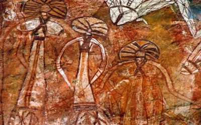 10,000 year old rock art in India depicting what appears to be otherworldly beings.