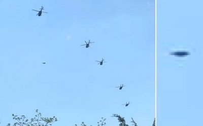 Fleet of Helicopters escorting a flying disc photographed June 2019 in Wickford, Rhode Island – Disc and chopper formation flew over residential areas with multiple witnesses. Woman said her husband took the photo near Quonset Air Force Base. ET or US Military? 🤔@ufosecrecy